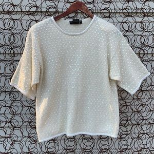 Vintage 90s sequined knit short sleeve sweater